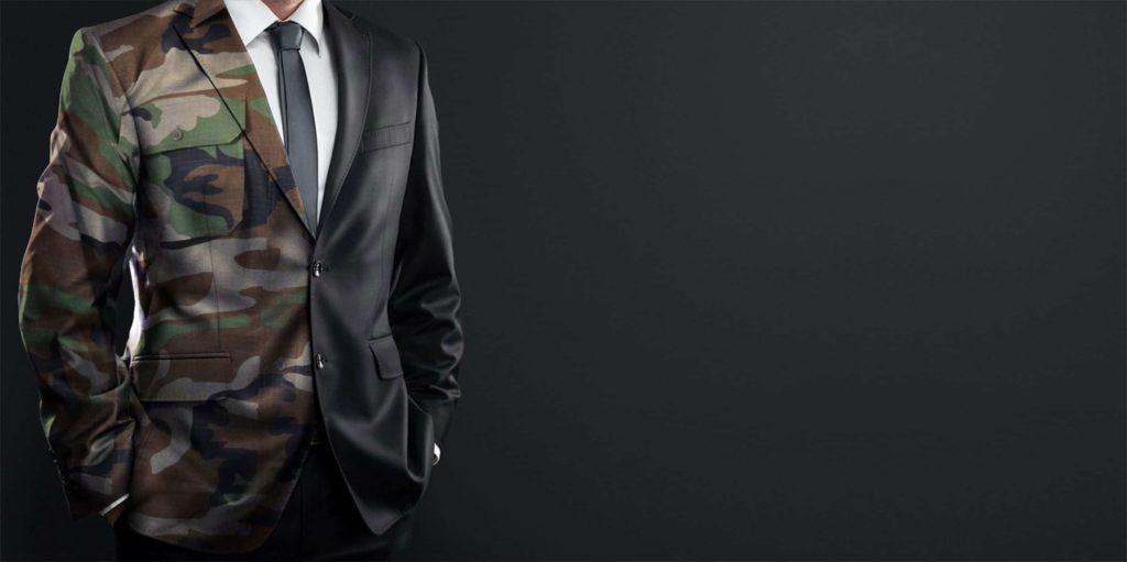 man in suit - half soldier uniform and half business suit